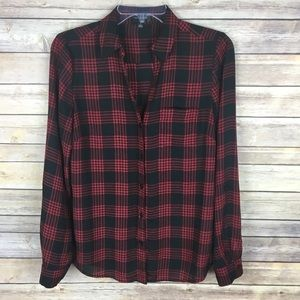 The Limited Small Red Black Plaid Blouse